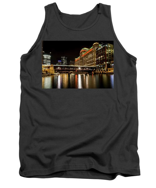 Chicago's Merchandise Mart At Night Tank Top