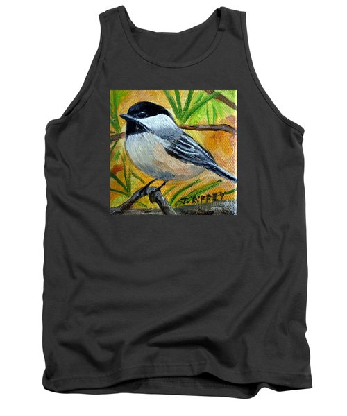 Chickadee In The Pines - Birds Tank Top by Julie Brugh Riffey