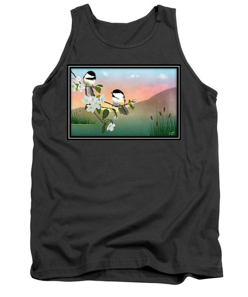Chickadees And Apple Blossoms Tank Top
