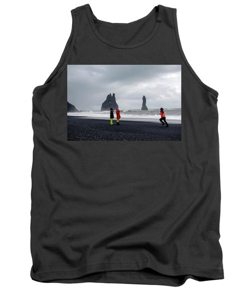 Tank Top featuring the photograph China's Tourists In Reynisfjara Black Sand Beach, Iceland by Dubi Roman