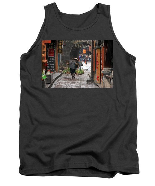 Chinese Woman Carrying Vegetables Tank Top by Valentino Visentini