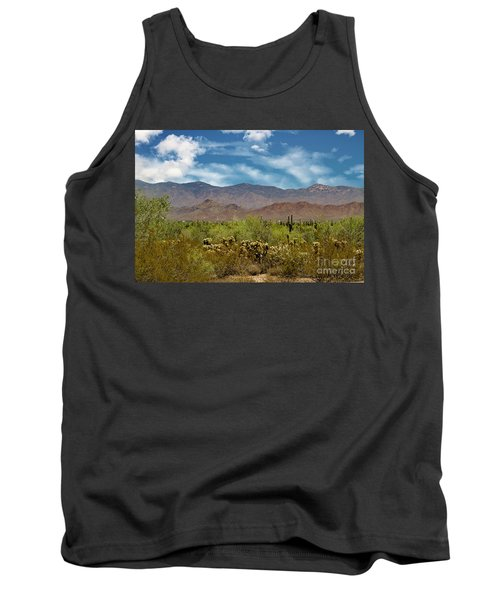 Cholla Saguaro And The Mountains Tank Top by Anne Rodkin