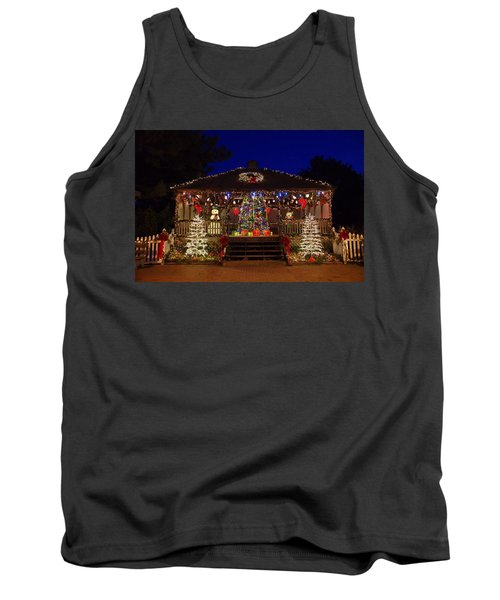 Christmas At The Lighthouse Gazebo Tank Top by Greg Graham