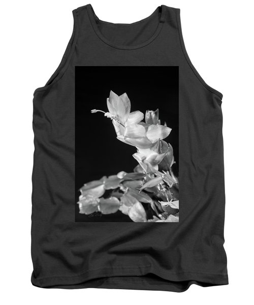 Tank Top featuring the photograph Christmas Cactus On Black by Ed Cilley