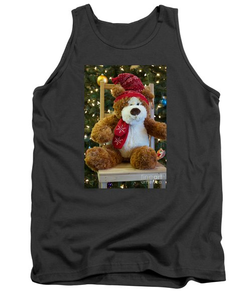 Christmas Teddy Bear Tank Top by Vinnie Oakes