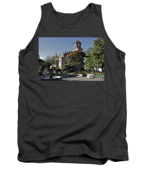 Church And Fountain Guadalajara Tank Top by Jim Walls PhotoArtist