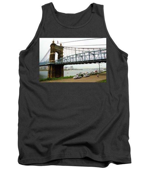 Cincinnati - Roebling Bridge 5 Tank Top by Frank Romeo