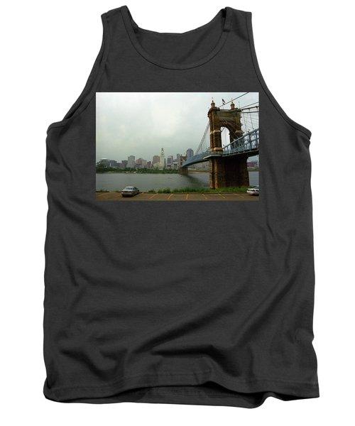 Cincinnati - Roebling Bridge 6 Tank Top by Frank Romeo