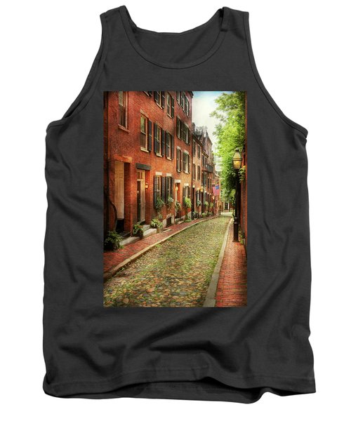 Tank Top featuring the photograph City - Boston Ma - Acorn Street by Mike Savad