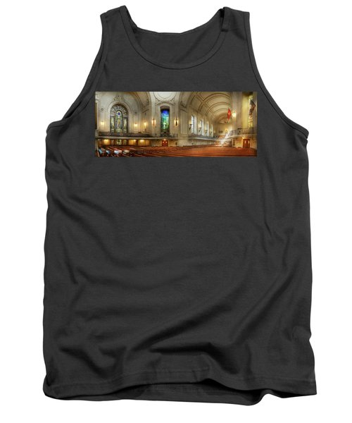 Tank Top featuring the photograph City - Naval Academy - God Is My Leader by Mike Savad