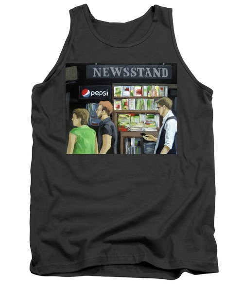 Tank Top featuring the painting City Newsstand - People On The Street Painting by Linda Apple