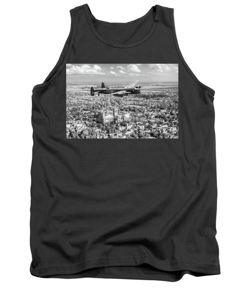 Tank Top featuring the photograph City Of Lincoln Vn-t Over The City Of Lincoln Bw Version by Gary Eason