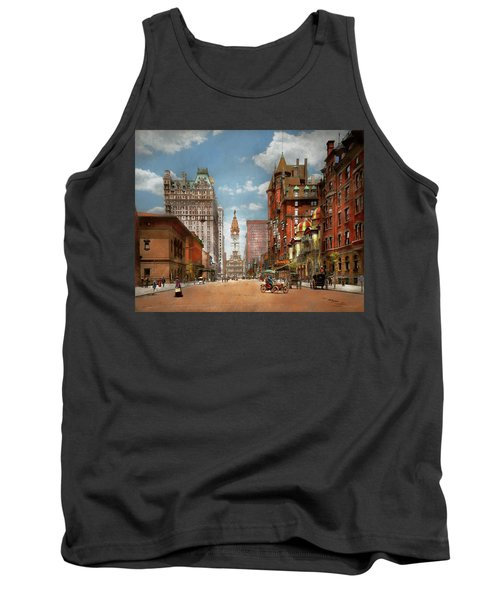 Tank Top featuring the photograph City - Pa Philadelphia - Broad Street 1905 by Mike Savad