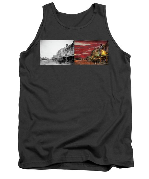 Tank Top featuring the photograph City - Palmerston North Nz - The Shopping District 1908 - Side By Side by Mike Savad