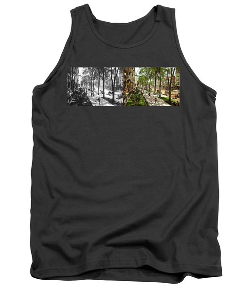 Tank Top featuring the photograph City - Saratoga Ny -  I Would Love To Be On Broadway 1915 - Side By Side by Mike Savad
