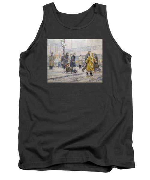 Tank Top featuring the painting City Snow Ride by Donna Tucker