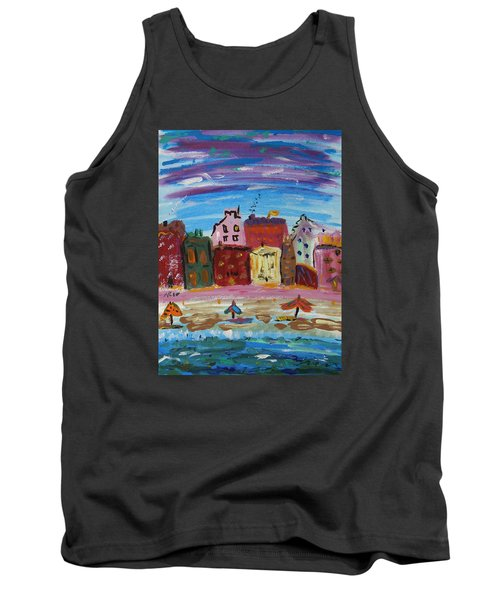 City With A Pink Boardwalk Tank Top by Mary Carol Williams