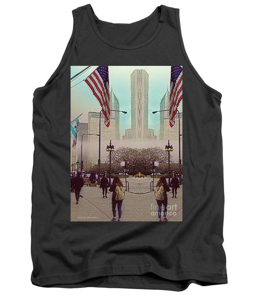 Cityscape With A Bit Of Fog Tank Top by Kathie Chicoine