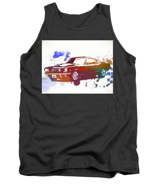 Classic Ford Mustang Watercolor Splash Tank Top by Dan Sproul