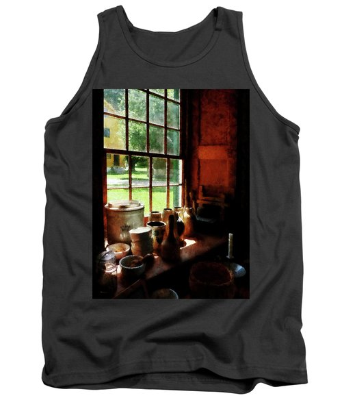 Tank Top featuring the photograph Clay Jars On Windowsill by Susan Savad