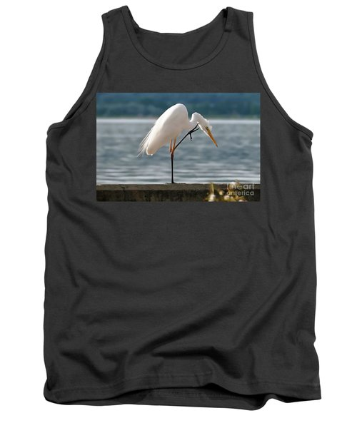 Cleaning White Egret Tank Top