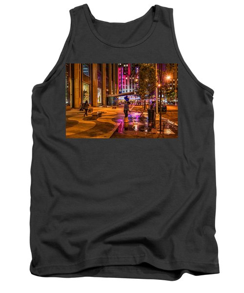 Cleaning With Neon Tank Top by Jeffrey Friedkin
