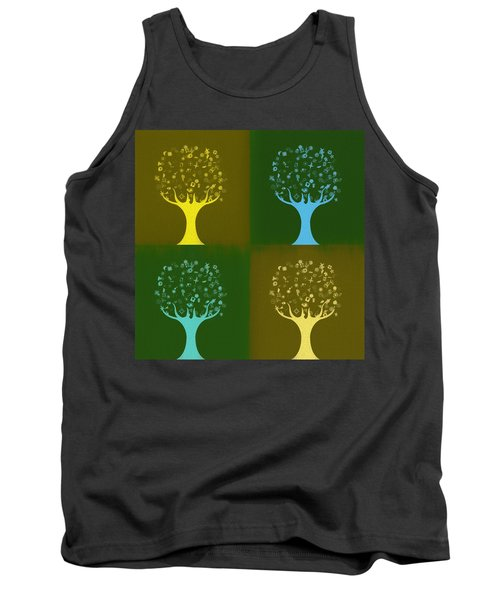 Tank Top featuring the mixed media Clip Art Trees by Dan Sproul