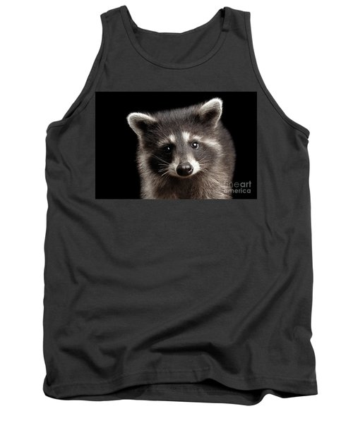 Closeup Portrait Cute Baby Raccoon Isolated On Black Background Tank Top