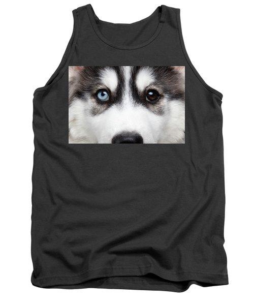 Closeup Siberian Husky Puppy Different Eyes Tank Top
