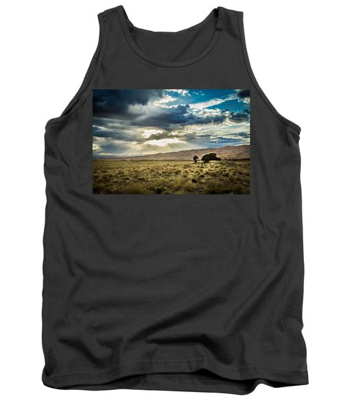 Tank Top featuring the photograph Cloud Break Over Sand Dunes by Laura Roberts