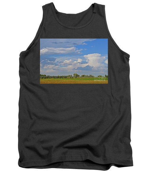 Clouds Aboive The Tree Farm Tank Top