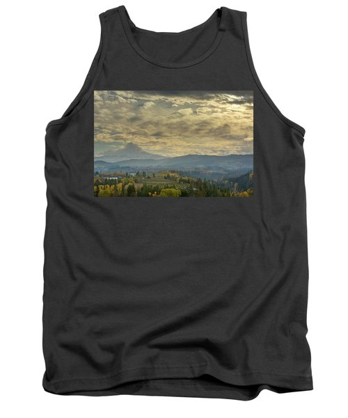 Clouds And Sun Rays Over Mount Hood And Hood River Oregon Tank Top