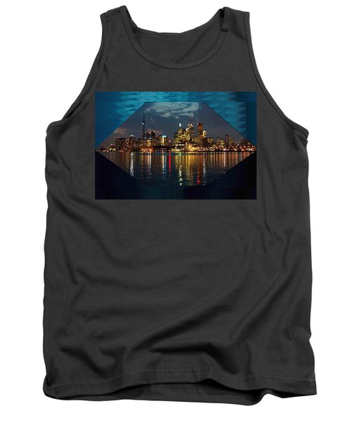 Cn  Tower And Toronto Down Town Water Front Beauty At Night Hexagon Poster  Tank Top
