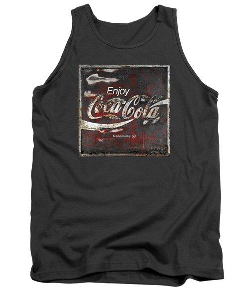 Coca Cola Grunge Sign Tank Top by John Stephens