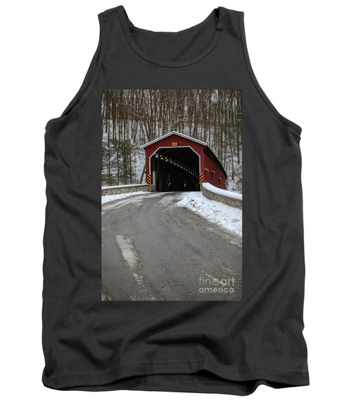 Colemansville Covered Bridge After Winter Snow Tank Top