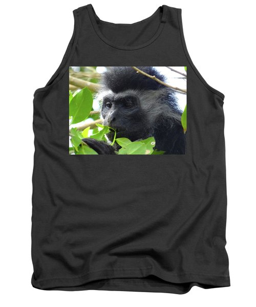 Colobus Monkey Eating Leaves In A Tree Close Up Tank Top