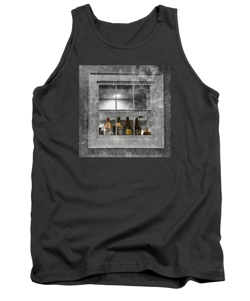 Tank Top featuring the photograph Colored Bottles In Window by Tom Singleton