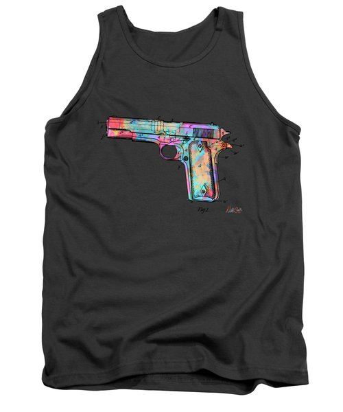 Colorful 1911 Colt 45 Browning Firearm Patent Minimal Tank Top