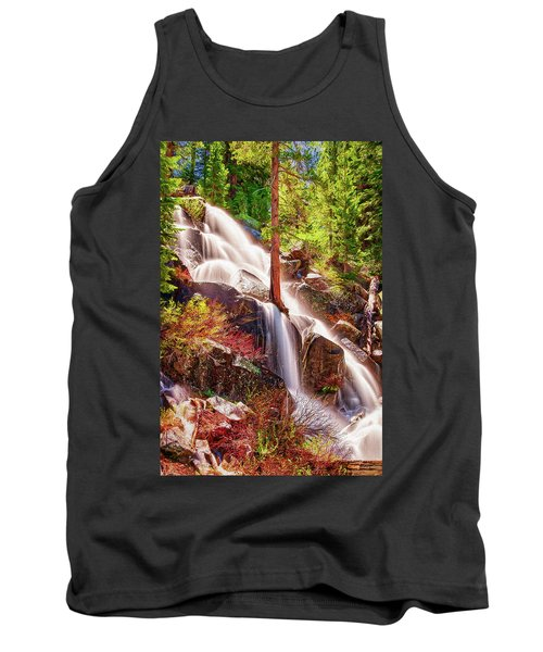 Colorful Cascade Waterfall On Tioga Pass Ap Tank Top