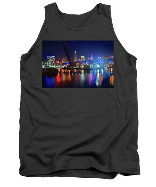 Tank Top featuring the photograph Colorful Cleveland Lights Shimmer Bright by Frozen in Time Fine Art Photography