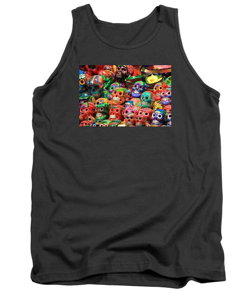 Colorful Mexican Day Of The Dean Ceramic Skulls Tank Top