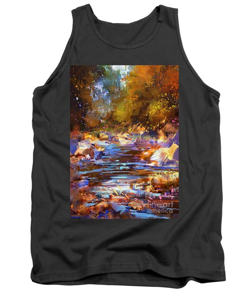 Tank Top featuring the painting Colorful River by Tithi Luadthong