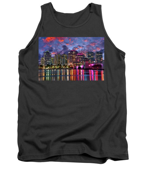 Colorful Sunset Over Downtown West Palm Beach Florida Tank Top