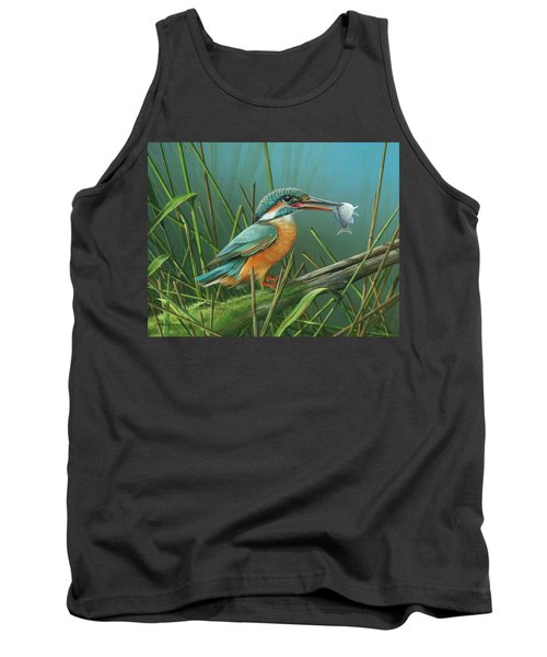 Tank Top featuring the painting Common Kingfisher by Mike Brown