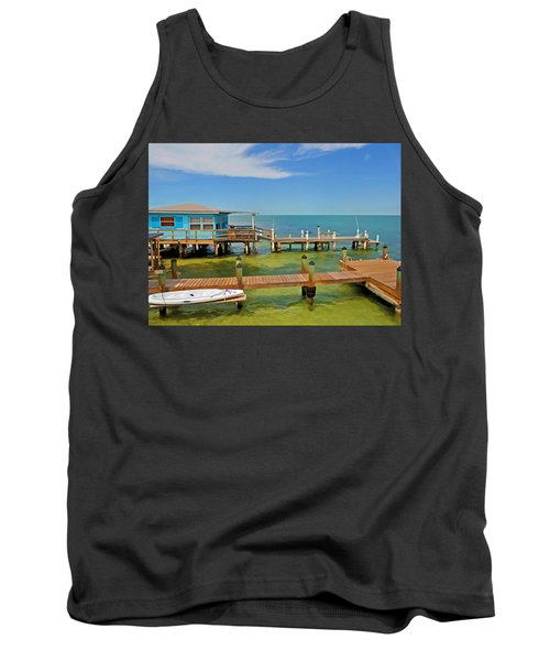 Conch Key Blue Cottage 3 Tank Top