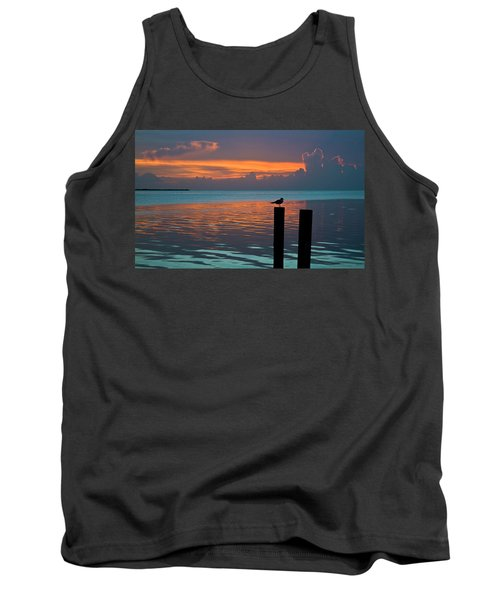 Conch Key Sunset Bird On Piling Tank Top