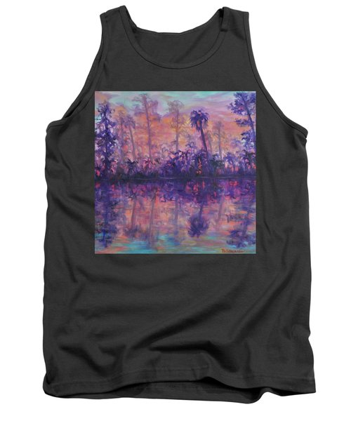 Contemporary Nature Painting Tropical Lake Sunset Tank Top