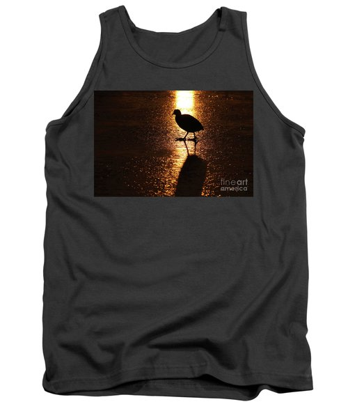 Coot Walks On Golden Ice  Tank Top