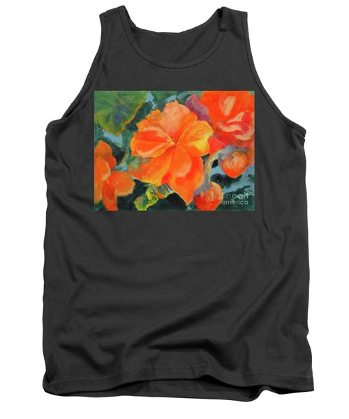 Tank Top featuring the painting Coral Begonias by Kathy Braud