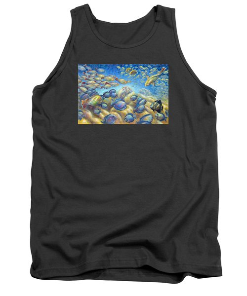 Tank Top featuring the painting Coral Reef Life Silvers by Nancy Tilles